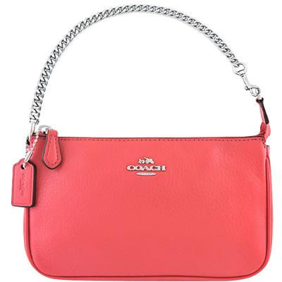 COACH-蜜桃色馬車皮革壓紋鍊帶手提包