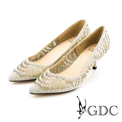 GDC-性感水鑽寶石沖孔真皮尖頭高跟鞋(婚鞋)-粉色
