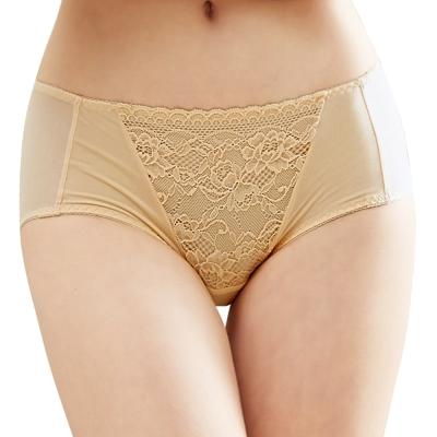 思薇爾 花緹系列M-XL蕾絲低腰平口內褲(旭日黃)