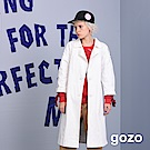 gozo 大圓扣翻領七分袖平織長版外套(白色)