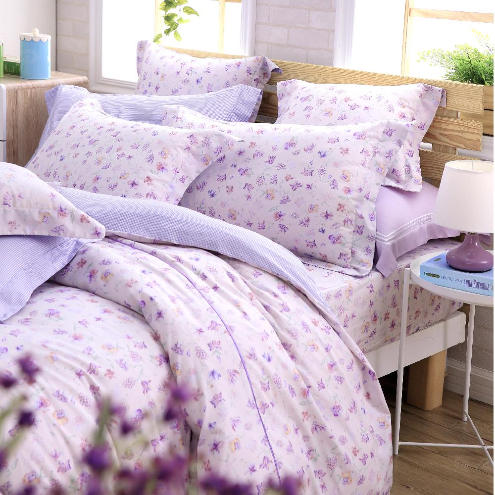 OLIVIA 蘇菲雅 紫 單人床包枕套兩件組 (歐式枕套 )鄉村田園系列