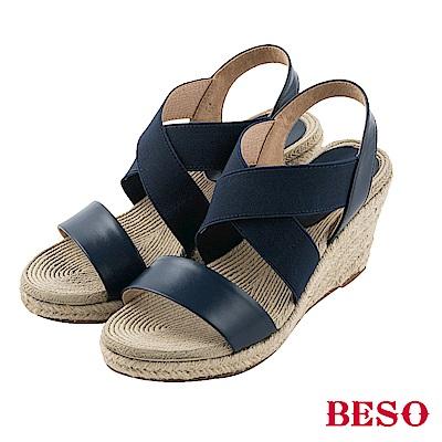 BESO清夏涼感 真皮拼接交叉鬆緊帶露趾編織楔型涼鞋~黑