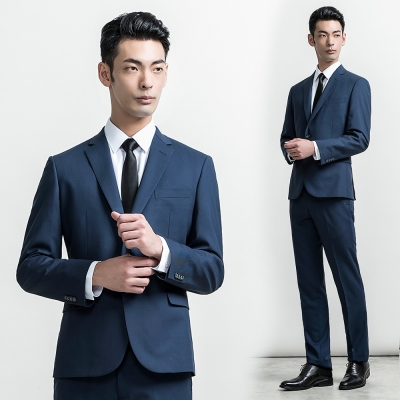 per-pcs 層次組織細紋毛料西裝外套_藍(815306)