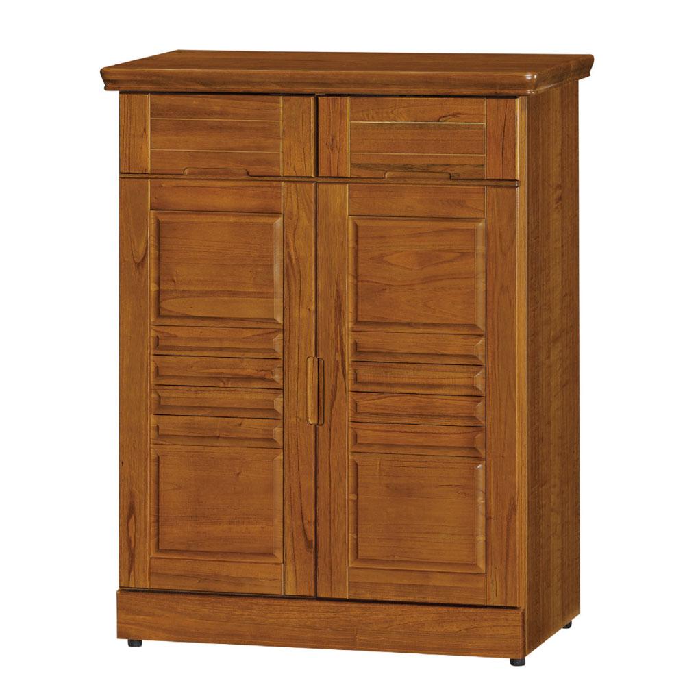 品家居 克維爾2.7尺樟木色實木開門鞋櫃