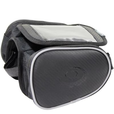 [快]omax碳纖紋手機上管馬鞍包5.5吋+雙眼矽膠多功能警示燈