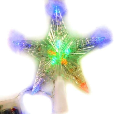 聖誕燈LED透明樹頂星電池燈(彩光)(高亮度又環保)(可裝飾於聖誕樹頂或窗戶等)