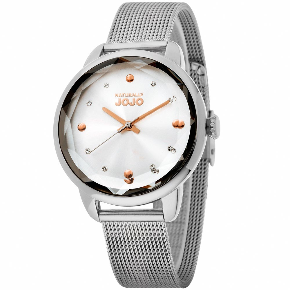 NATURALLY JOJO  幾何流行晶鑽米蘭時尚腕錶-銀/32mm