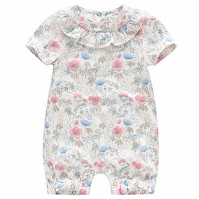 Baby unicorn 油菜花粉藍花卉荷葉短袖連身衣