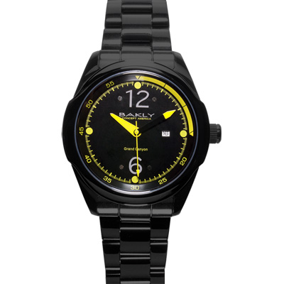 BAKLY 重裝系列爭鋒時刻玻麗腕錶-黑x黃/46mm