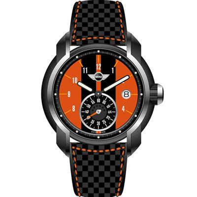 MINI Swiss Watches  簡約休閒腕錶-黑x橘/42mm