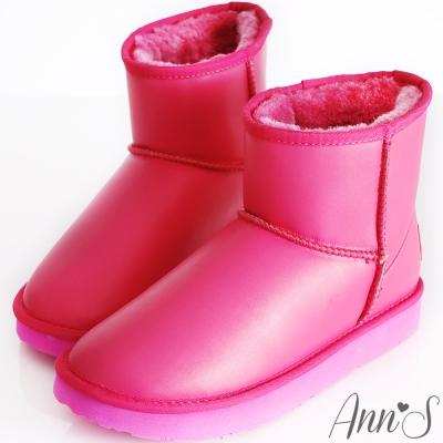 Ann'S俏皮甜心-防潑水素面短筒雪靴 桃