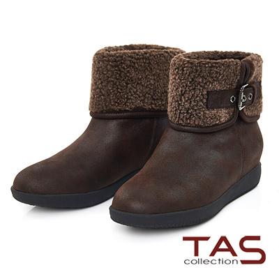 TAS-毛料反折皮帶扣環內增高短靴-深咖啡