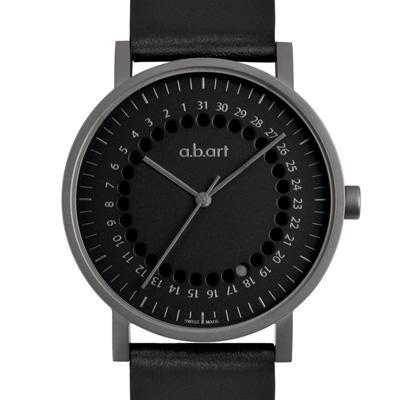 a.b.art O系列 經典日期圓盤跳點腕錶-鐵灰/40.5mm