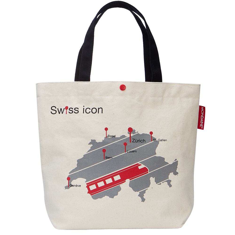 MONDAINE 瑞士國鐵火車地圖帆布肩背包-原色白 @ Y!購物