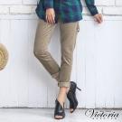 Victoria 燈芯絨男友褲-女-淺卡其