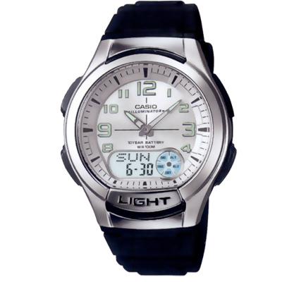 CASIO 超世代強光雙顯時區膠帶錶(AQ-180W-7B)-白