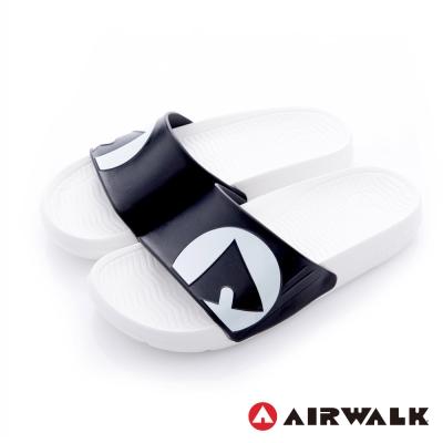 美國AIRWALK 防滑耐磨室內外拖鞋-白黑