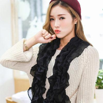 Aimee-Toff-清新拼色時尚巴黎紗圍巾-黑色