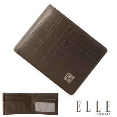 ELLE HOMME 線條格紋義大利頭層皮系列 12卡法式精品短夾 多夾層 -咖啡