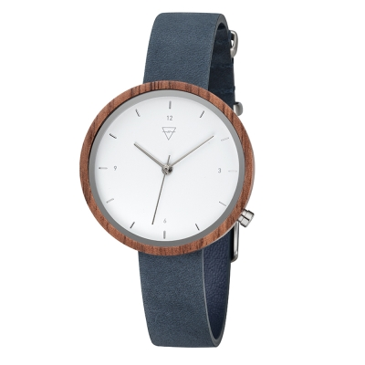 KERBHOLZ 原木手錶 HILDE-核桃木(岩藍)/36mm