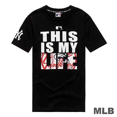 MLB-紐約洋基隊立體LOGO印花短T-黑 (男)