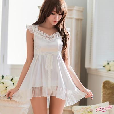 性感睡衣 純白緞面V領小蓋袖二件式睡衣(白F) Lorraine