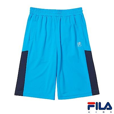 FILA KIDS 男童抗UV吸濕排汗針織短褲-天空藍1SHS-4314-SK