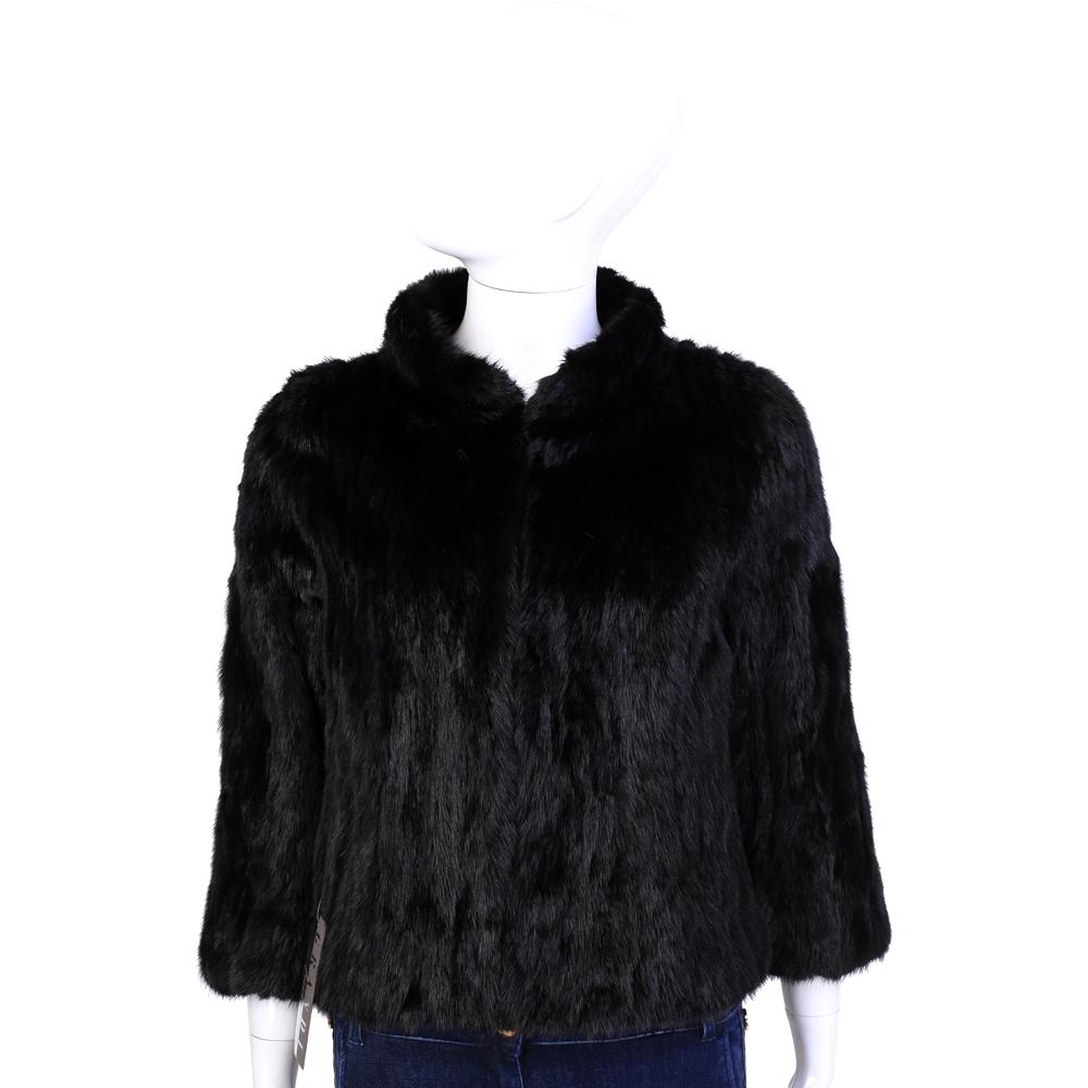 GRANDI furs 黑色立領設計皮草外套