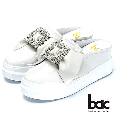 bac閃亮時尚貴氣水鑽裝飾後空厚底鞋-白