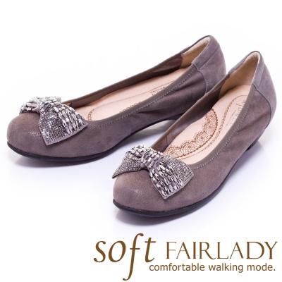 Fair-Lady-Soft芯太軟-亮珠飾蝴蝶結低跟鞋-灰