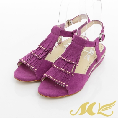 MK-臺灣製-流蘇鉚釘繞踝楔型涼鞋-紫色