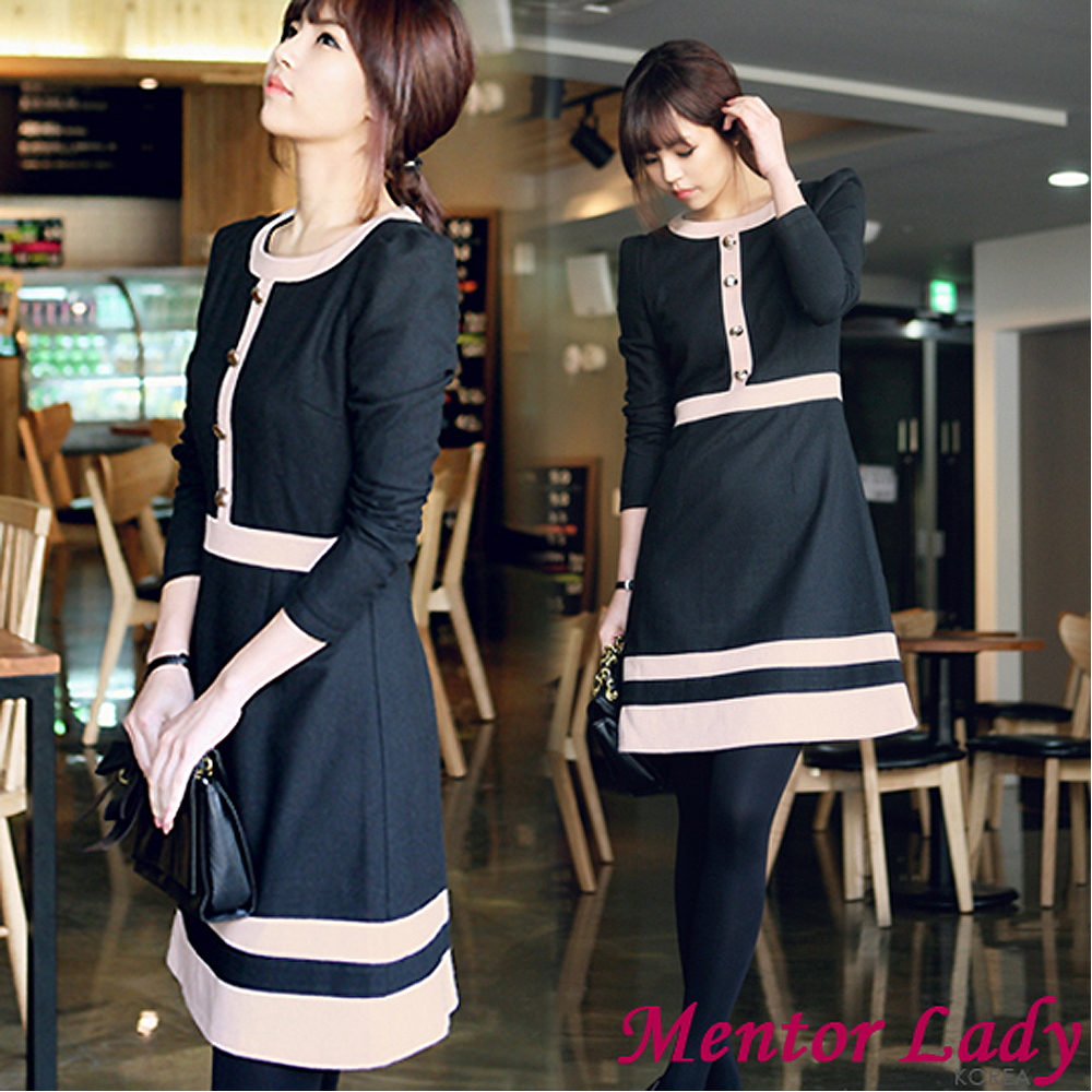 【Mentor Lady】復古優雅配色滾邊毛料洋裝 (黑色)