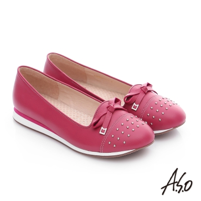 A.S.O 樂福氣墊 真皮鉚釘蝴蝶結奈米氣墊鞋 桃粉紅