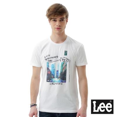 Lee 街頭圖片印刷短袖T恤 男 白色