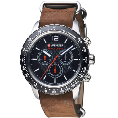 WENGER Roadster黑夜騎士計時腕錶( 01.0853.106)黑/45mm