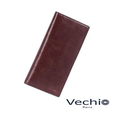 VECHIO - 紳士商務款深色原皮系列14卡長夾 - 酒紅棕