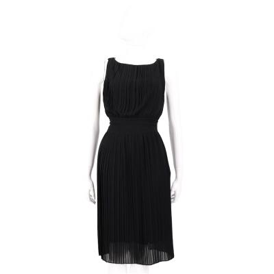 MARELLA 黑色雪紡百褶無袖洋裝