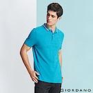 GIORDANO  男裝經典撞色立領短袖POLO衫-07 雪花釉藍