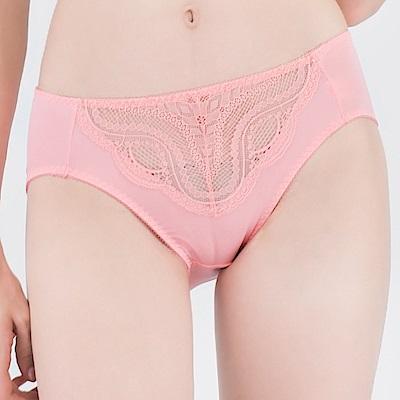 思薇爾 星願秘密系列M-XXL蕾絲中腰三角內褲(霓粉橘)