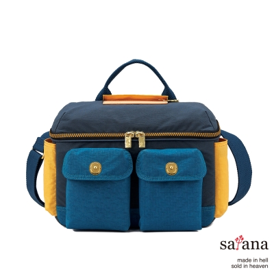 satana - 拼接相機包/野餐包 - 深海藍混色