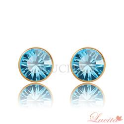 Lucita-彩鑽金邊耳環-任選三對-6顆-299