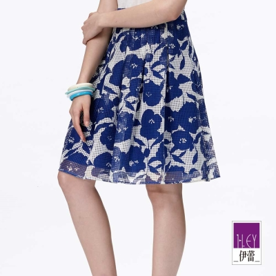 ILEY伊蕾 網布印花及膝摺裙(藍)