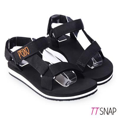 TTSNAP涼拖鞋-MIT寬版織帶足弓輕巧涼拖鞋 黑