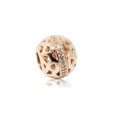 Pandora 潘朵拉 魅力鑲鋯玫瑰金鏤空造型 純銀墜飾 串珠