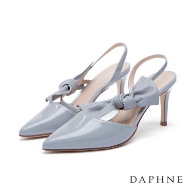 達芙妮DAPHNE 高跟鞋-立體蝴蝶結綁飾後拉帶尖頭鞋-灰