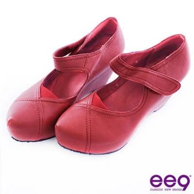 ee9 荷蘭娃娃~足部量感大躍升隱藏式內增高荷蘭鞋*紅色