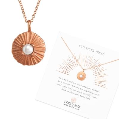Dogeared Disc 白珍珠圓牌項鍊 光芒錢幣玫瑰金項鍊 綻放愛的光芒