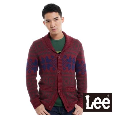 Lee-長袖保暖毛衣-V領-翻領前開扣-男款-暗紅