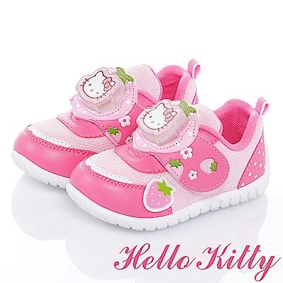 HelloKitty 草莓系列 抗菌防臭減壓電燈童鞋-桃粉