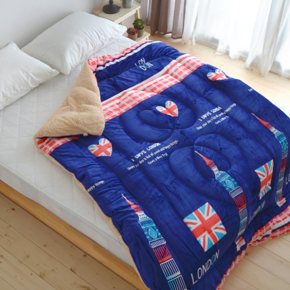 絲薇諾-台灣製蓄熱法蘭絨羊羔絨暖暖被-藍色英國